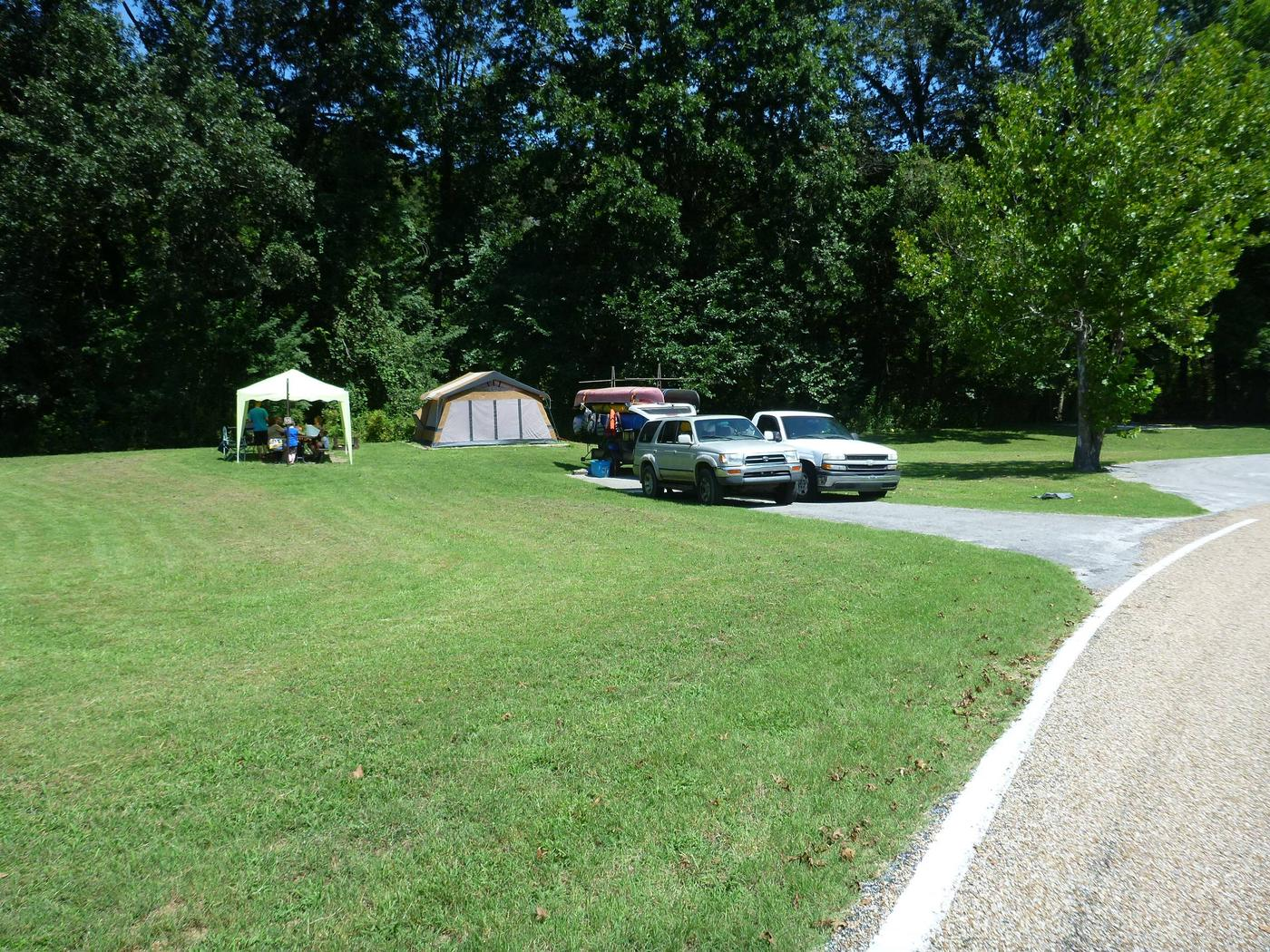 Tyler Bend Main Loop Site# 15-3Site #15, 50' back-in, tent pad is 15' x 15'.