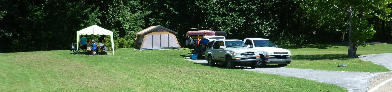 Tyler Bend Main Loop Site# 15Site #15, 50' back-in, tent pad is 15' x 15'.