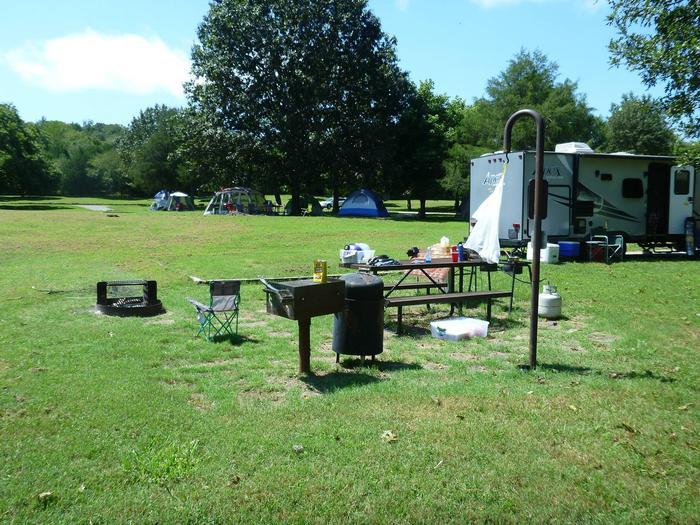 Tyler Bend Main Loop Site# 16-1Site #16, 58' back-in, tent pad 15' x 15'.