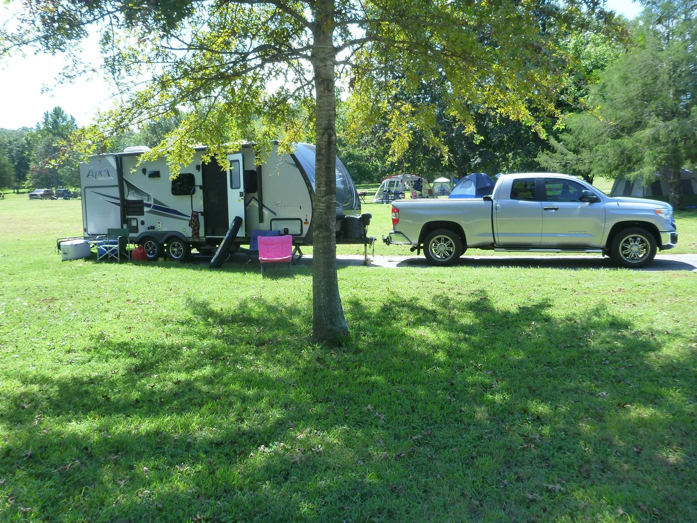 Tyler Bend Main Loop Site# 16-3Site #16, 58' back-in, tent pad 15' x 15'.