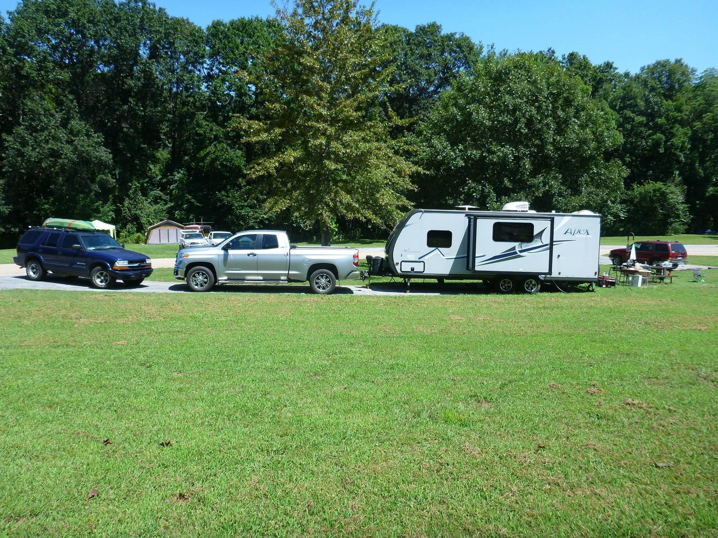 Tyler Bend Main Loop Site# 16-4Site #16, 58' back-in, tent pad 15' x 15'.