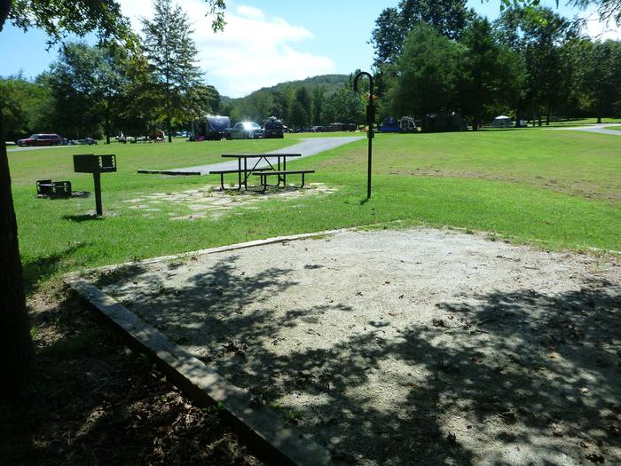 Tyler Bend Main Loop Site# 17-3Site #17, 65' back-in, tent pad 15' x 15'.