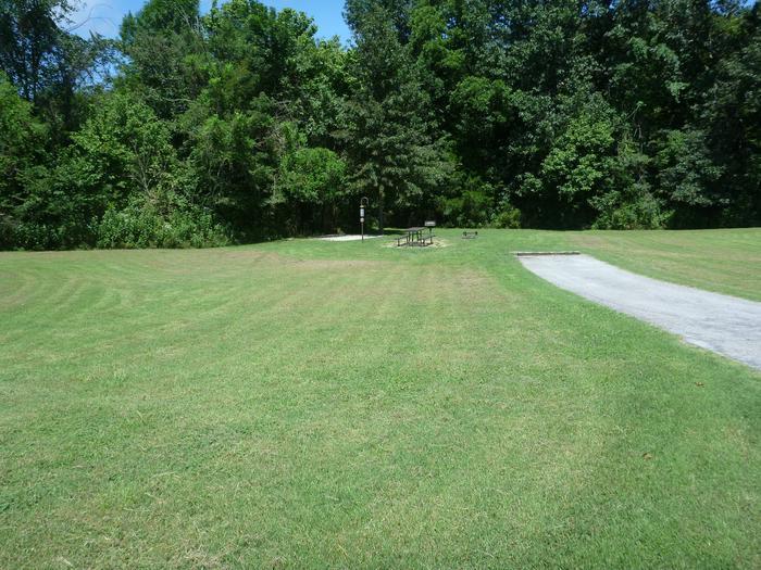 Tyler Bend Main Loop Site# 17-5Site #17, 65' back-in, tent pad 15' x 15'.