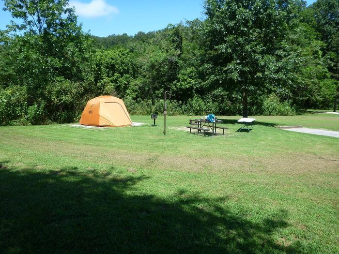 "Tyler Bend Main Loop Site #18-2Site #18, 75"" back-in, tent pad 15' x 15'."