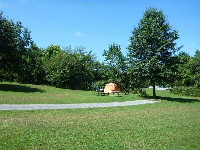 "Tyler Bend Main Loop Site #18-4Site #18, 75"" back-in, tent pad 15' x 15'."