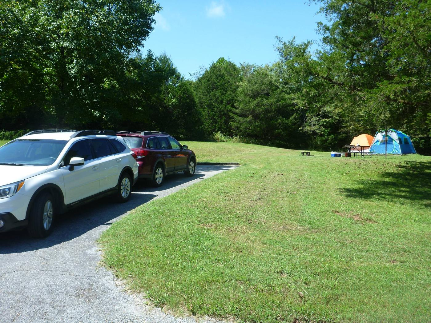 Tyler Bend Main Loop Site# 21-5Site #21, 56' back-in, tent pad 15' x 15'.