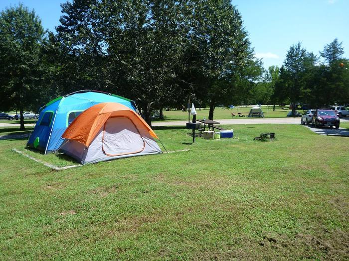 Tyler Bend Main Loop Site# 21Site #21, 56' back-in, tent pad 15' x 15'.