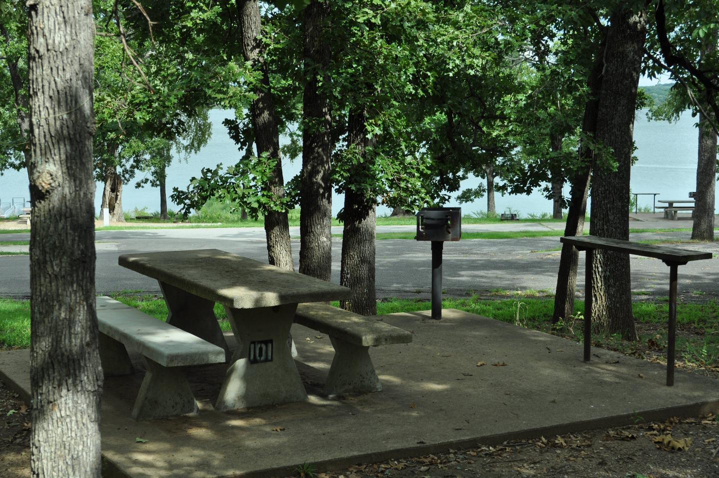 Site 101 table and impact area - Taylor FerrySite 101 has shaded picnic area and a decent view of the lake.  It is also located near the boat ramp and courtesy dock.  Parking for extra vehicles and equipment is limited due to the proximity of other campsites.