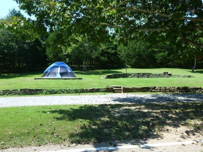 Tyler Bend Main Loop Site# 22-1Site #22 is a pull-through site that is 105', tent pad 15' x 15'