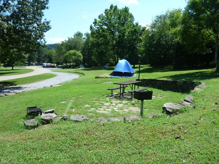 Tyler Bend Main Loop Site# 22Site #22 is a pull-through site that is 105', tent pad 15' x 15'