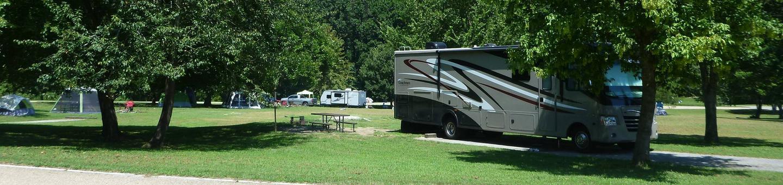 Tyler Bend Main Loop Site 25Site #25, 67' back-in, tent pad 15' x 15'.