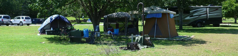 Tyler Bend Main Loop Site# 26Site #26, 53' back-in, tent pad 15' x 15'
