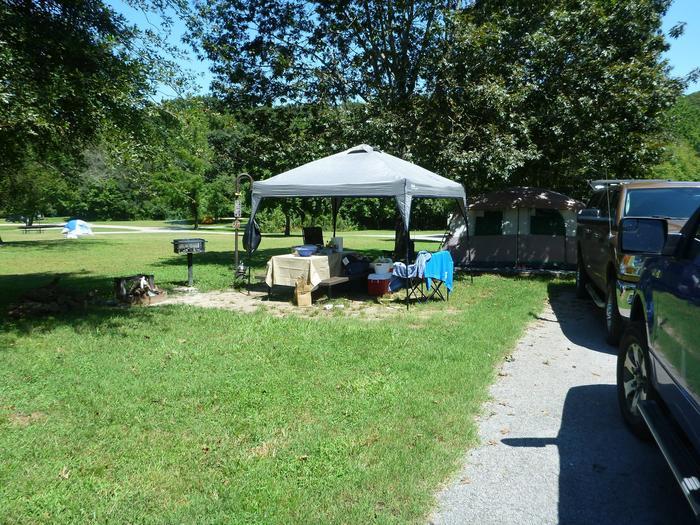 Tyler Bend Main Loop Site# 27-3Site# 27, 45' back-in', tent pad 15' x 15'