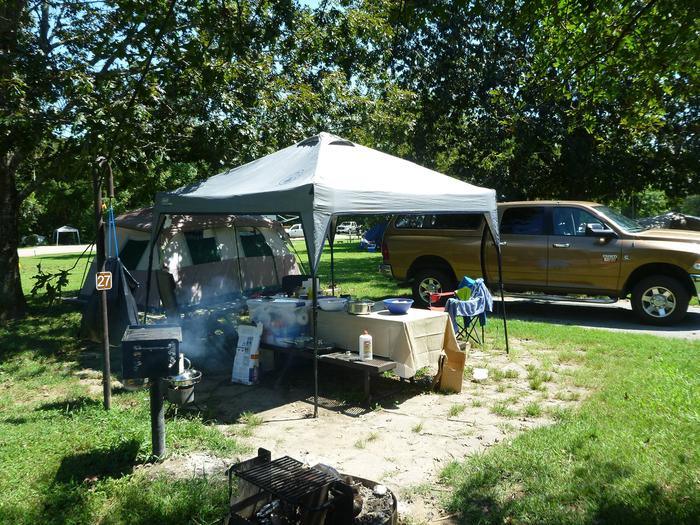 Tyler Bend Main Loop Site# 27Site# 27, 45' back-in', tent pad 15' x 15'