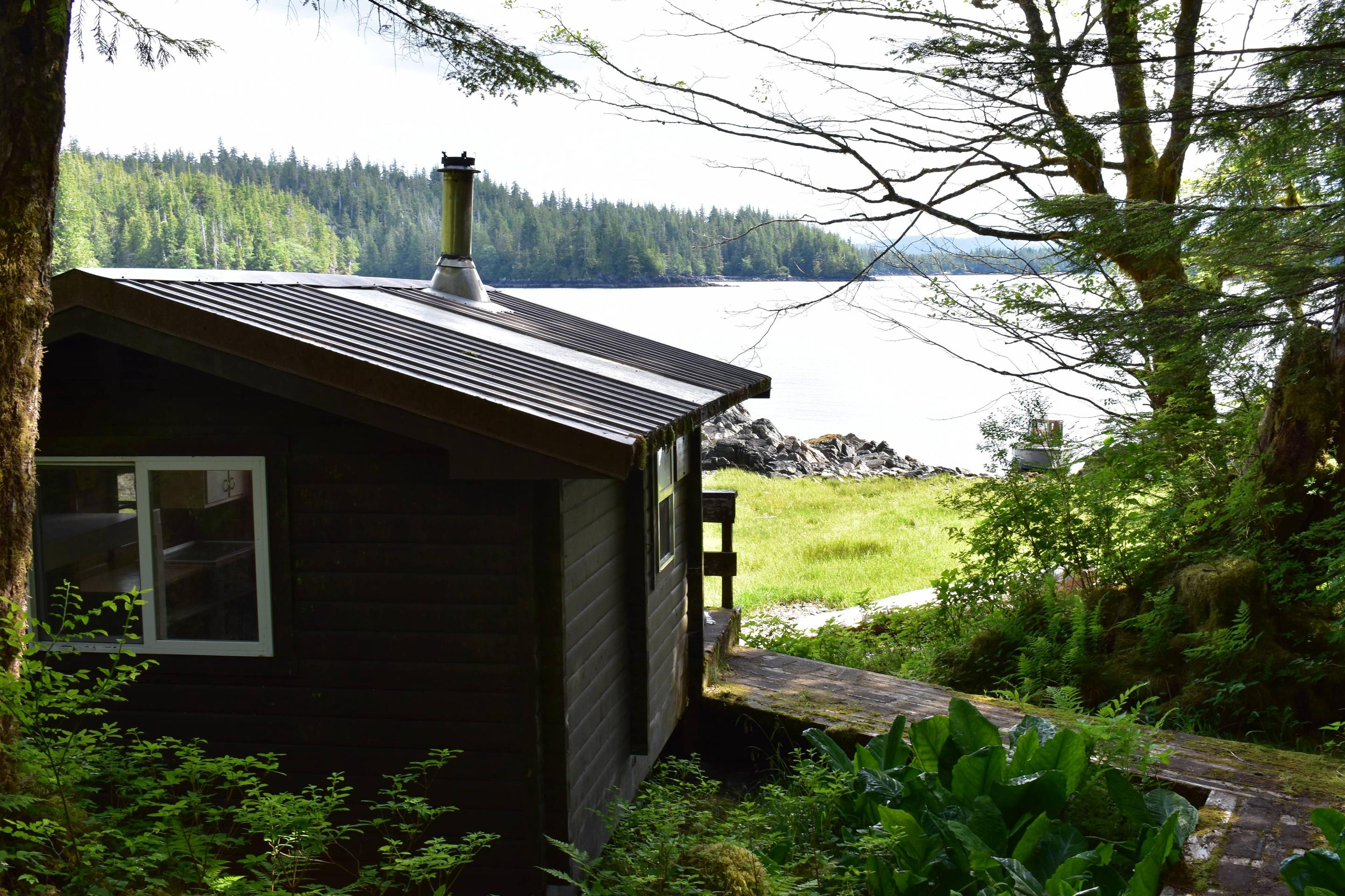View of Alava Bay with cabin in foregroundAlava Bay with cabin.