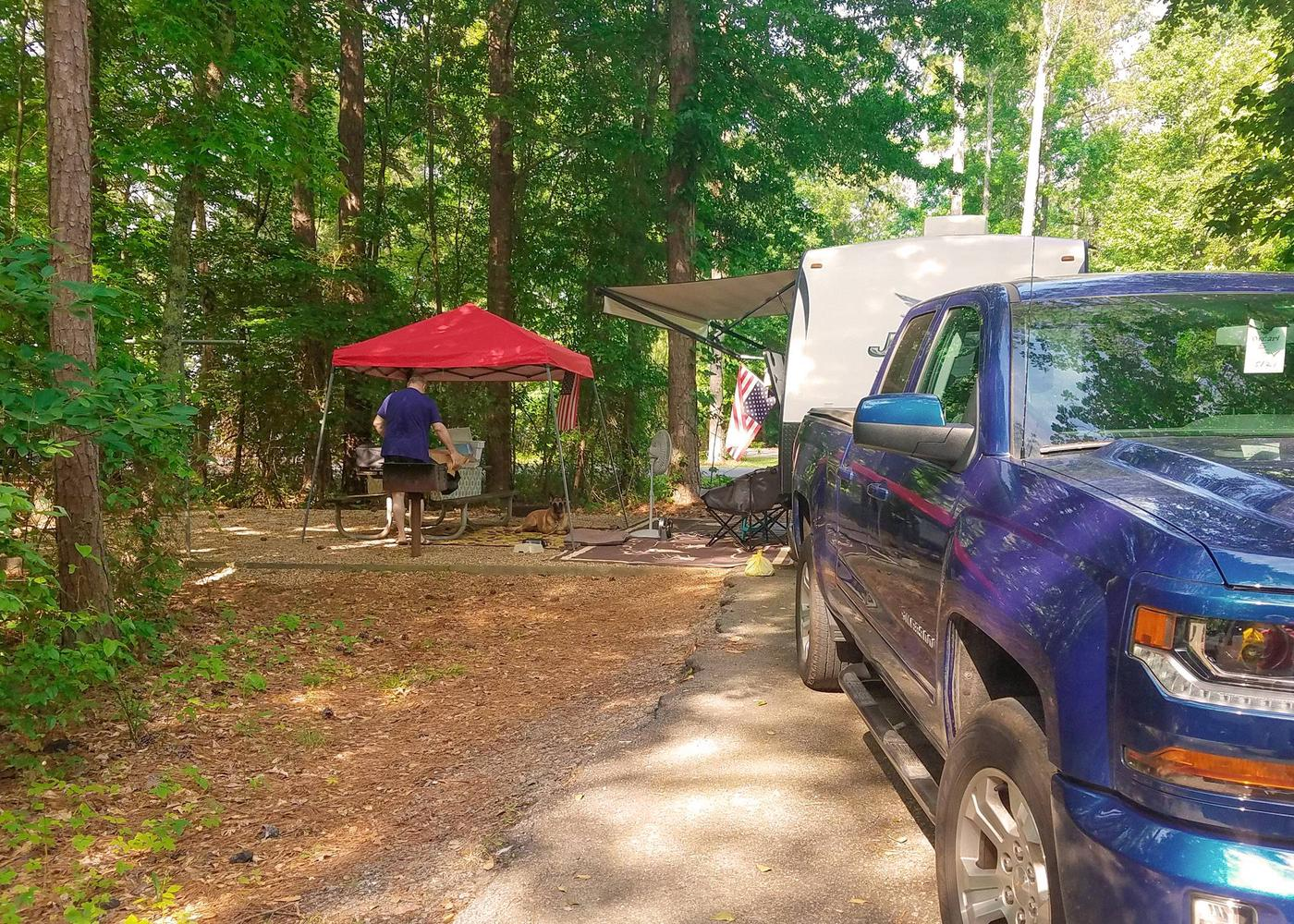 Awning-side clearance, campsite view 2.Victoria Campground, campsite 05.