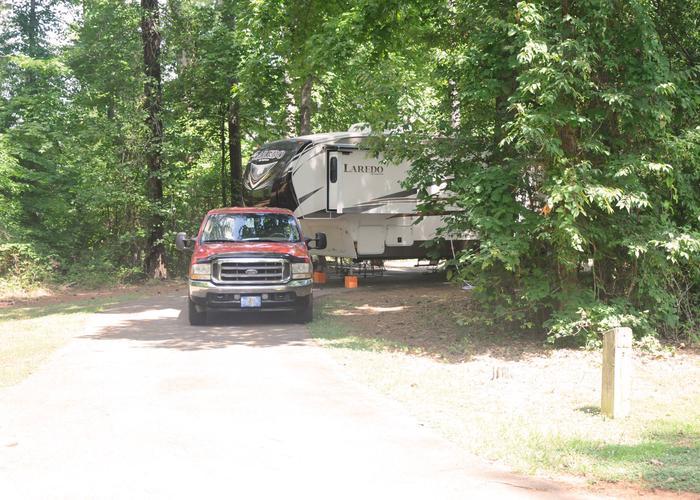 Pull-thru exit, driveway slope.Victoria Campground, campsite 10.