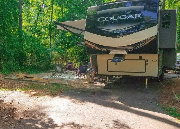 Pull-thru exit, driveway slope, awning-side clearance.Victoria Campground, campsite 12.