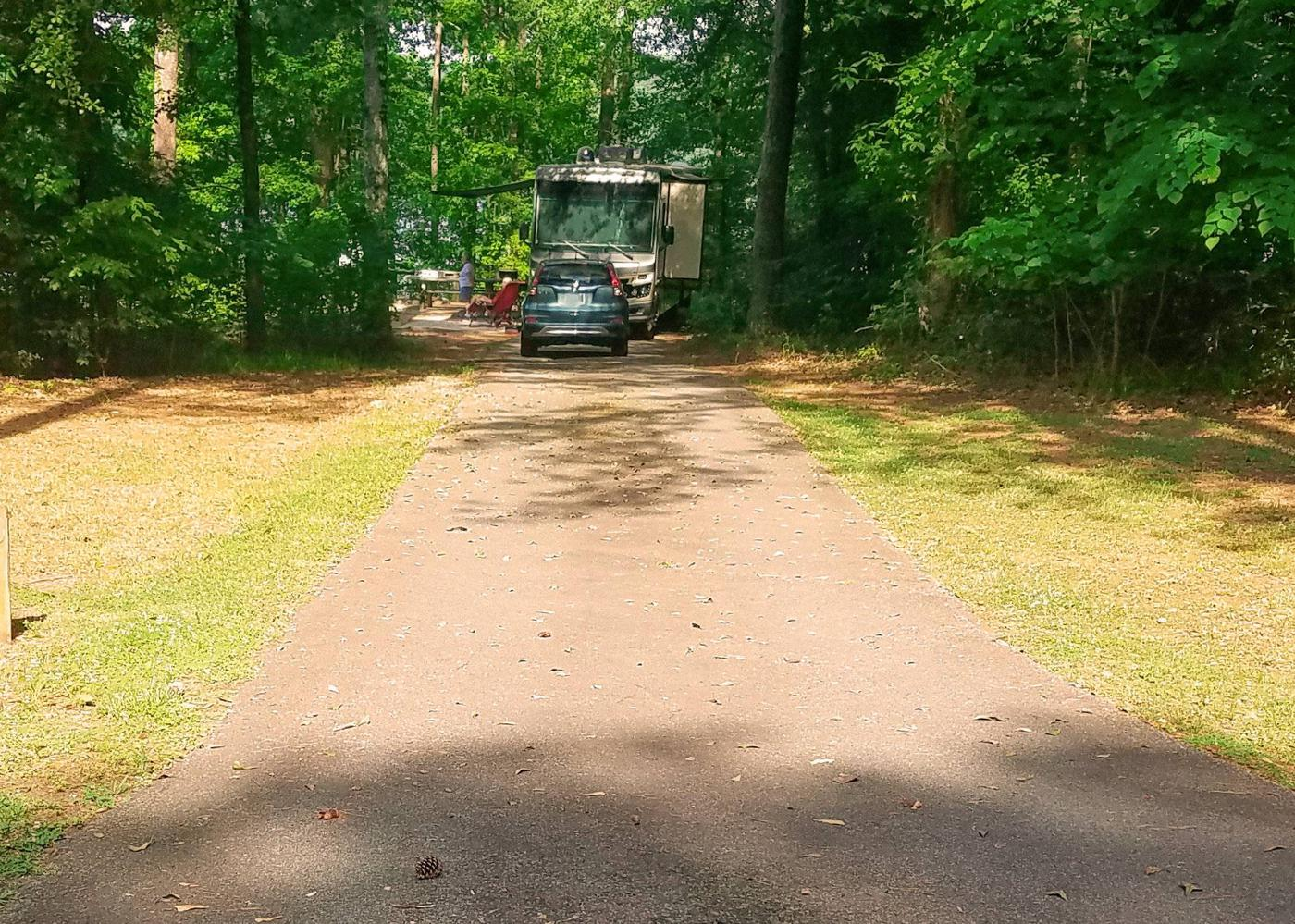 Driveway slope, awning-side clearance, utilities-side clearance.Victoria Campground, campsite 13.