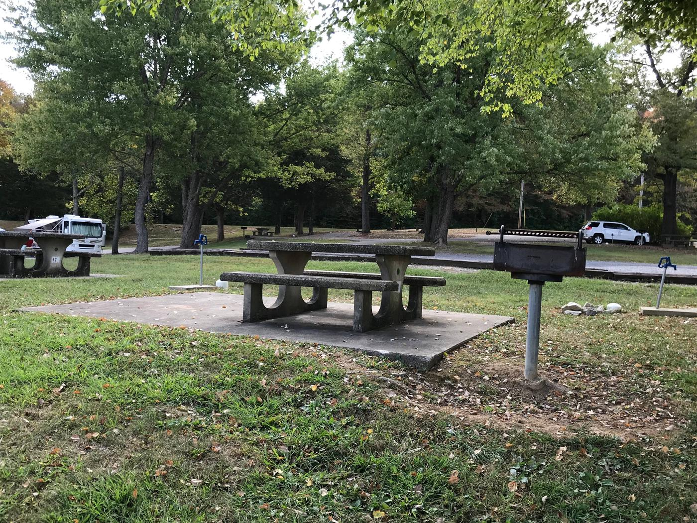 OBEY RIVER PARK SITE # 18 TABLE AND PEDESTAL GRILLOBEY RIVER PARK SITE # 18