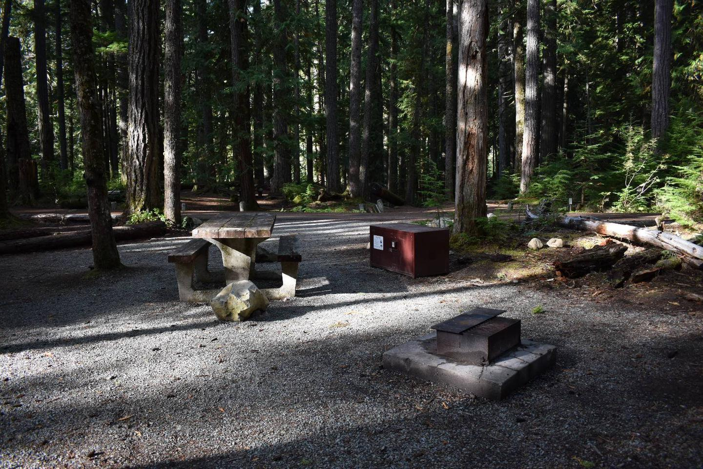 Campers are provided with a picnic table, food storage box, and fire pit,