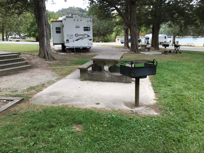 OBEY RIVER PARK SITE # 93 TABLE AND PEDESTAL GRILLOBEY RIVER PARK SITE # 93
