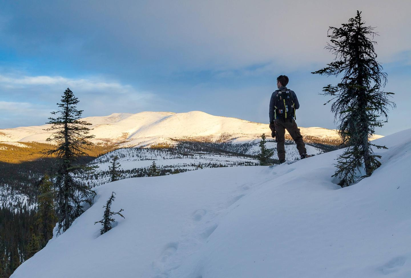A man enjoys a view of a distant mountain.A snowshoer enjoys an evening view of the Fossil Creek drainage near Windy Gap in the White Mountains National Recreation Area.