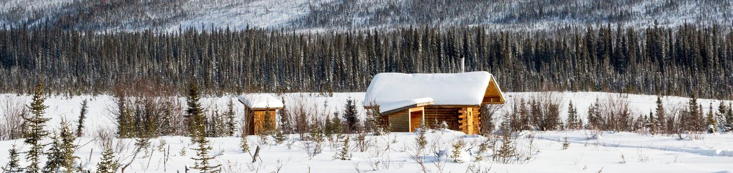 A log cabin in a large, snow-covered meadowCaribou Bluff Cabin