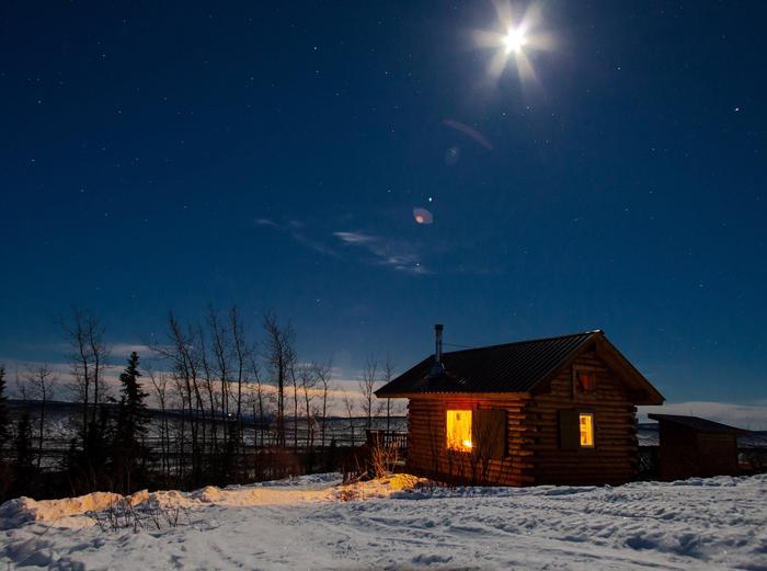 Log cabin at night under moonlightEleazar's Cabin under moonlight