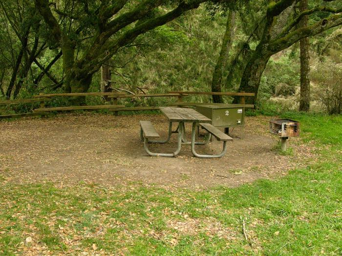 campsite with picnic table, food storage locker and BBQ grillGlen 2