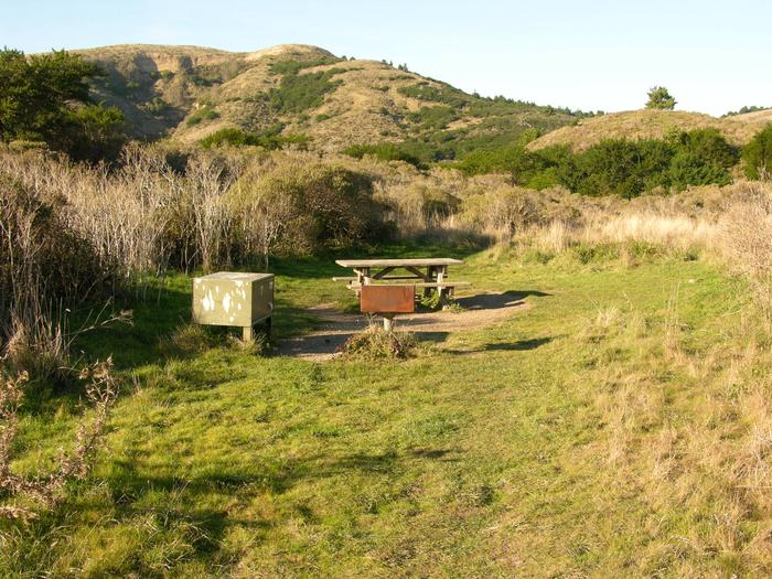 Campsite with picnic table, food storage locker, and charcoal grill.Coast 7