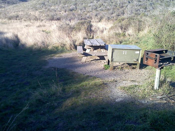 Campsite with picnic table, food storage locker, and charcoal grill.Coast 11