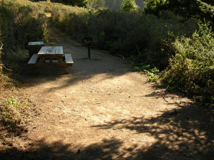Campsite with picnic table, food storage locker, and charcoal grill.Sky 3