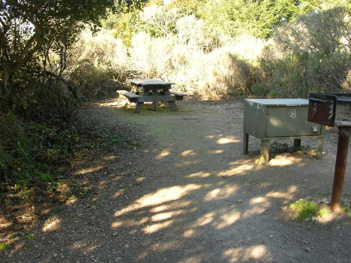 Campsite with picnic table, food storage locker, and charcoal grill.Sky 8
