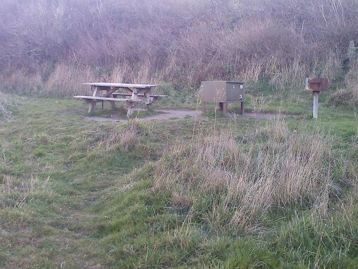 Campsite with picnic table, food storage locker, and charcoal grill.Coast 9