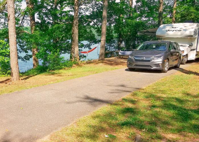 Driveway slope.Victoria Campground, campsite 19.