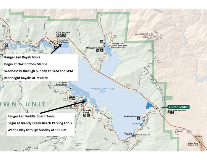 Map of program locationsKayak tours begin on the north side of the lake at Oak Bottom Marina, while the Paddle Board tours begin on the south side of the lake at Brandy Creek Beach parking lot B.