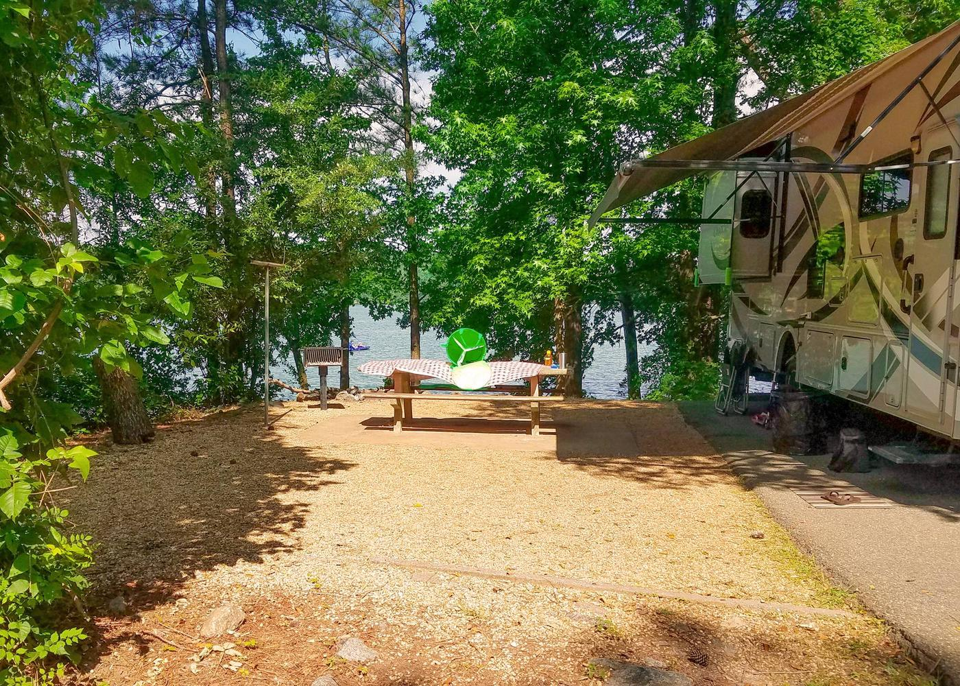 Awning-side clearance, campsite view.Victoria Campground, campsite 21.