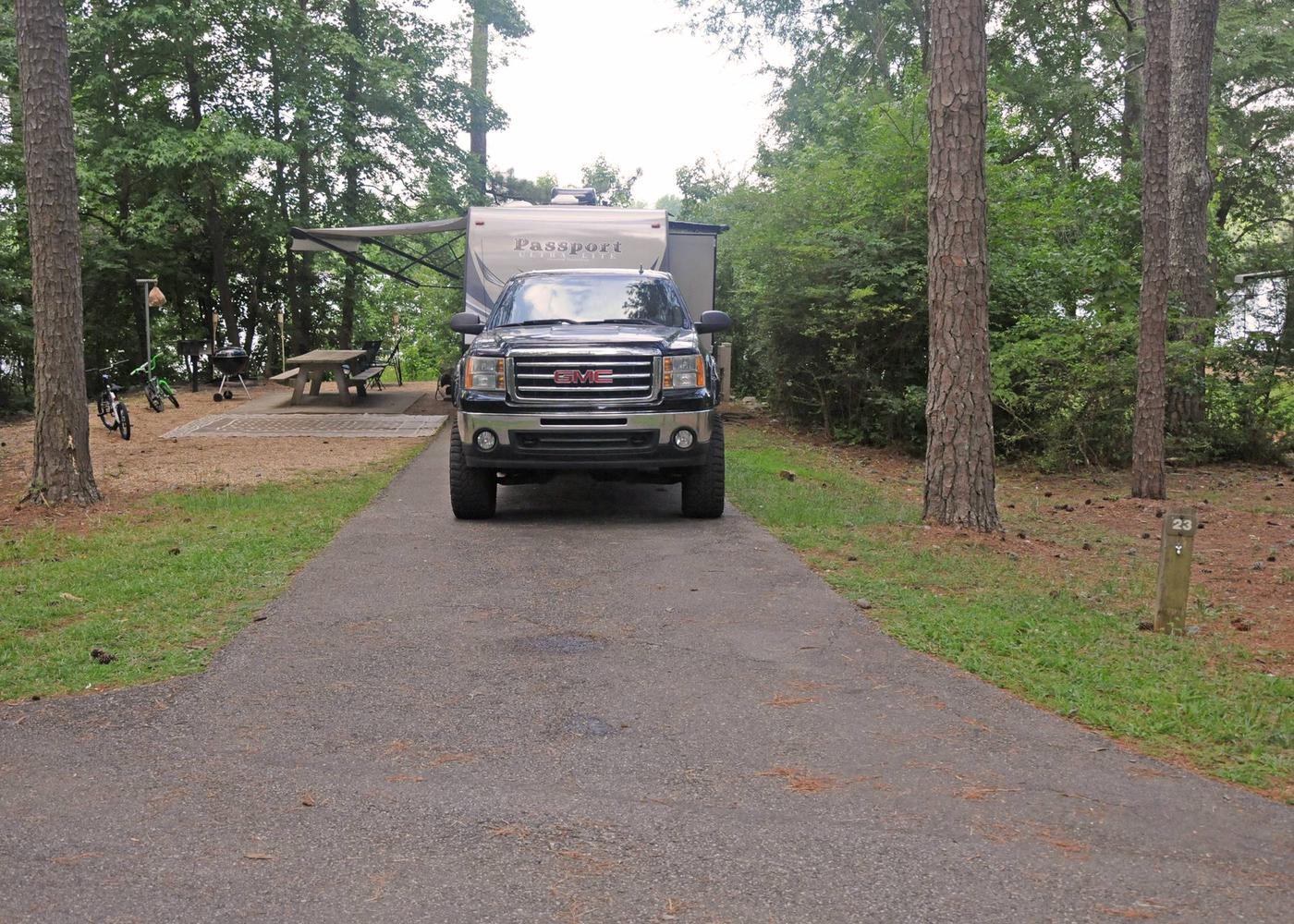 Driveway slope, awning-side clearance.Victoria Campground, campsite 23.