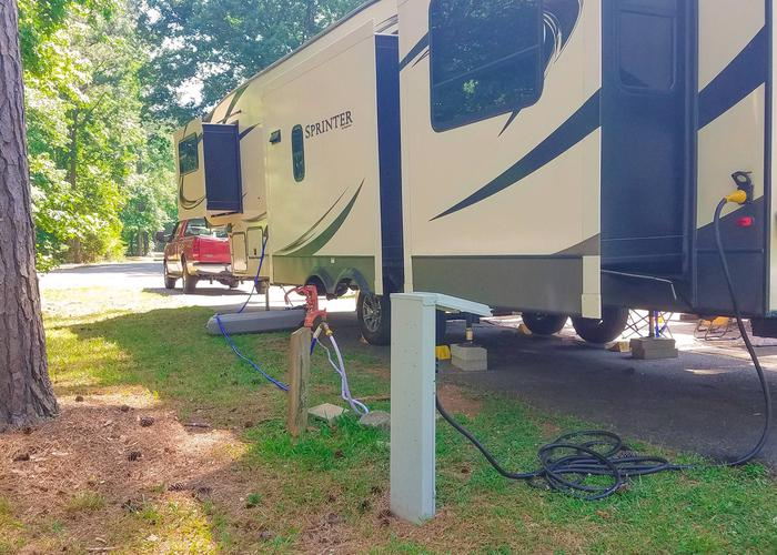 Utilities-side clearance.Victoria Campground, campsite 29. Pull-thru.