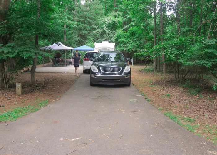 Driveway slope, awning-side clearance, utilities-side clearance.Victoria Campground, campsite 35.