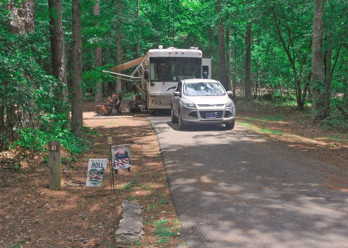 Driveway slope, awning-side clearance.Victoria Campground, campsite 41.