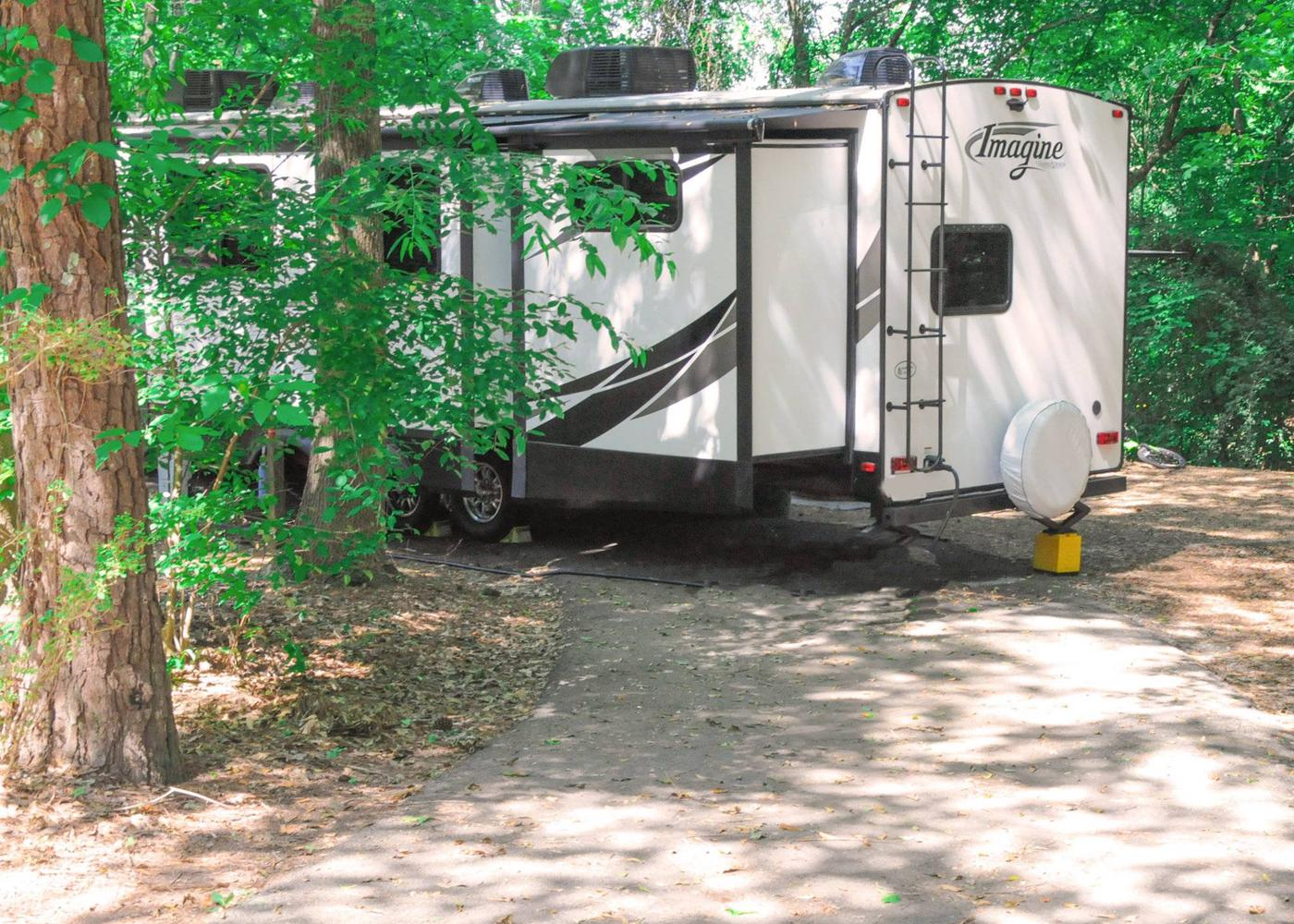 Pull-thru entrance, utilities clearance.Victoria Campground, campsite 47.