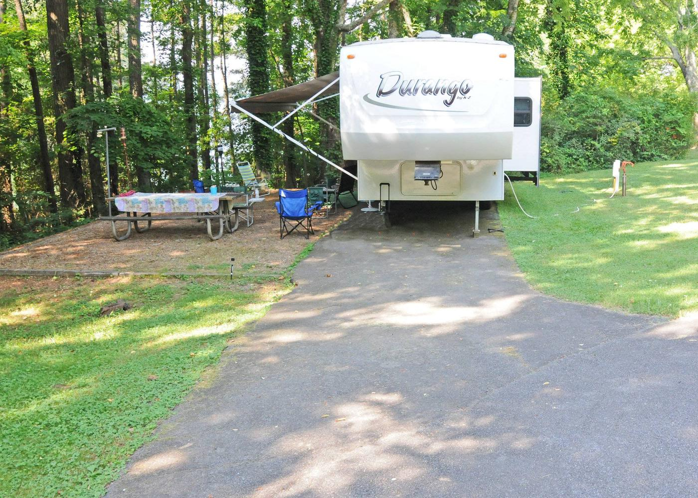 Driveway slope, awning-side clearance, utilities-side clearance.Victoria Campground, campsite 52.