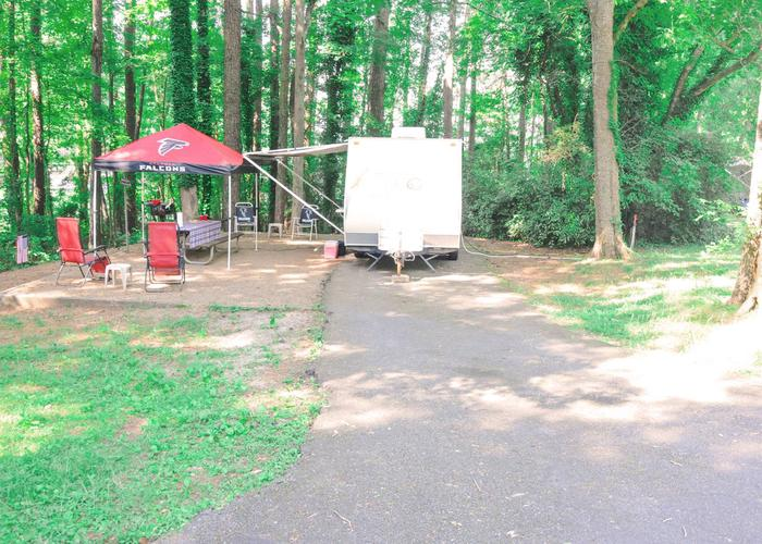 Driveway slope, awning-side clearance, utilities-side clearance.Victoria Campground, campsite 53.