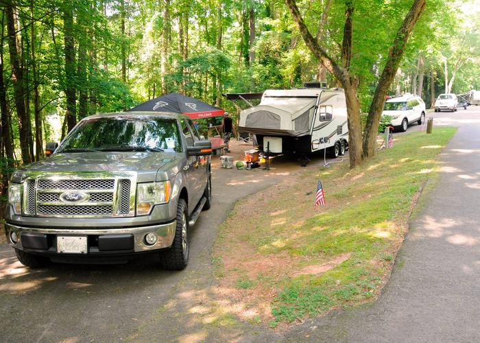 Pull-thru exit, driveway slope, utilities-side clearance.Victoria Campground, campsite 55.