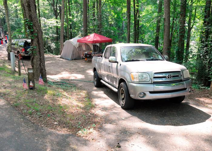 Pull-thru entrance, utilities clearance.Victoria Campground, campsite 56.