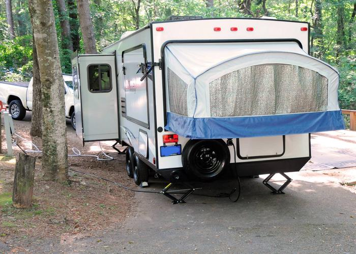 Pull-thru entrance, utilities clearance.Victoria Campground, campsite 57.