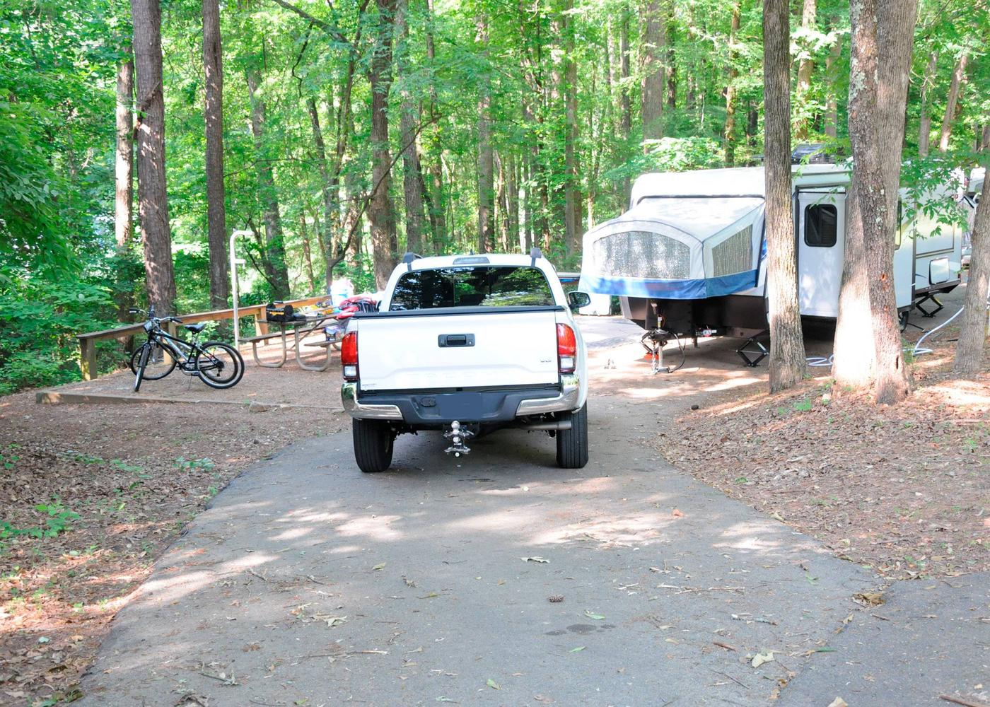 Pull-thru exit, driveway slope, awning-side clearance.Victoria Campground, campsite 57.