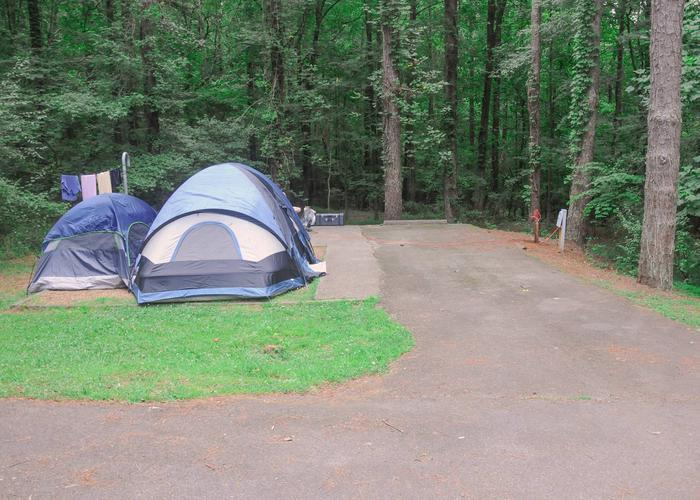 Driveway slope, awning-side clearance.Victoria Campground, campsite 59.
